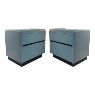 Vintage Grey Lacquered Nightstands - Pair