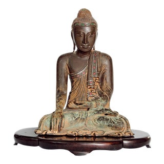 19th Century Patinated and Gilt Bronze Burmese Buddha