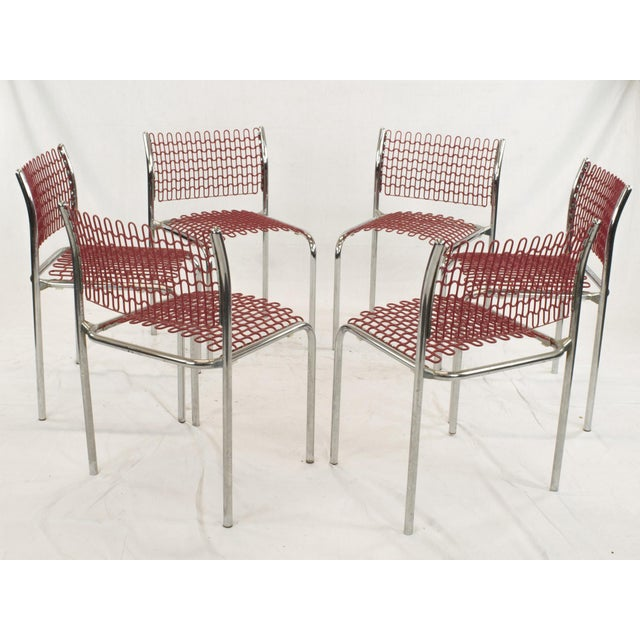 Image of David Rowland Red Dining Chairs - Set of 6