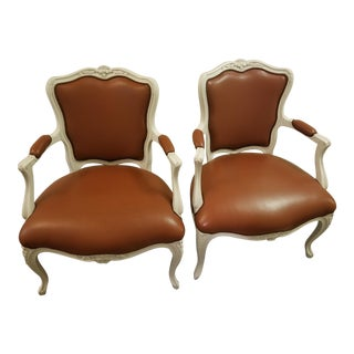 French Cognac Goatskin Leather Slipper Chairs - a Pair