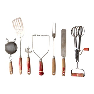 Vintage Red Kitchen Utensils - Set of 7