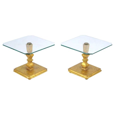 Pair of Italian Gilt Wood & Canted Corner Glass Top Tables - Image 1 of 5