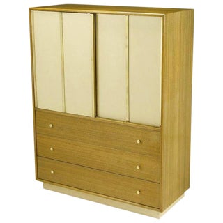 Harvey Probber Bleached Mahogany & Ivory Leather Tall Cabinet