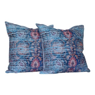 Blue Ikat Distressed Print Pillow Covers - a Pair-16''