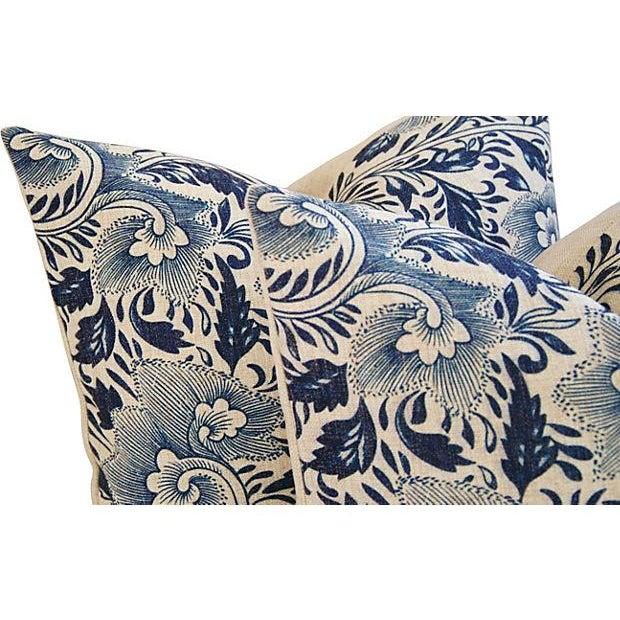 Custom Indigo Blue Floral Linen Pillows - Pair - Image 4 of 7