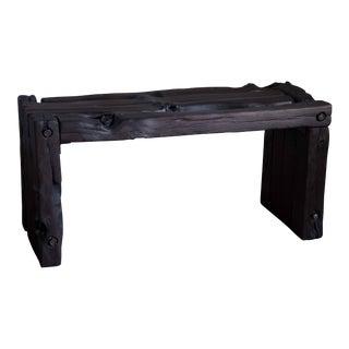 Organic Modern Wabi-Sabi Bench Reclaimed Yakisugi Wood