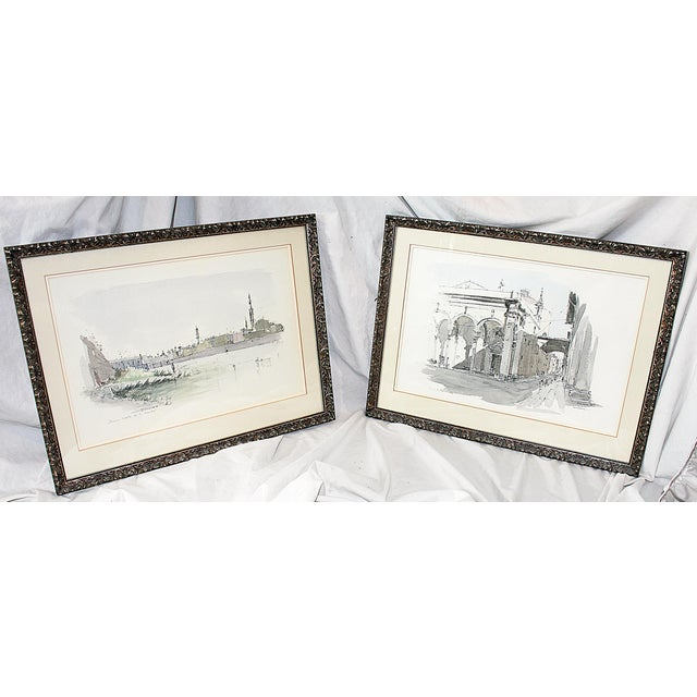 Framed Pen & Ink Watercolors - a Pair - Image 2 of 8
