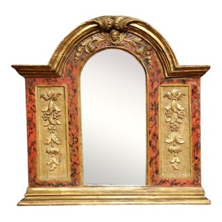 18th Century Italian Carved Polychrome and Gilt Arched Wall Mirror