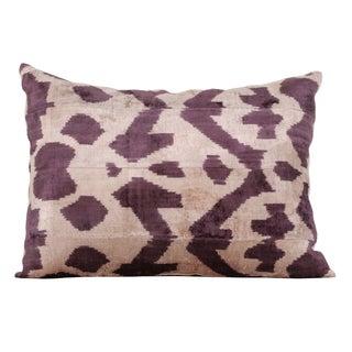 Plum & Beige Silk Velvet Accent Pillow