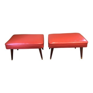 Vintage Tapered Leg Ottomans - a Pair