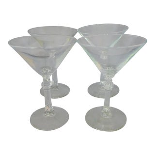 Mid Century Art Deco Style Martini Glasses - Set of 4