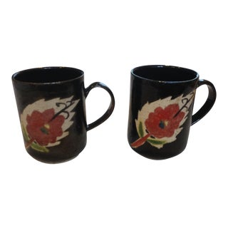 Black Pottery Mugs With Painted Paisley Flower - A Pair