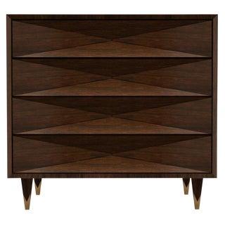 Customizable Faceted Walnut Dresser