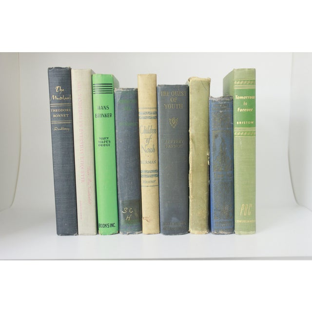 Vintage Decorative Green and Blue Books - Set of 9 - Image 2 of 11