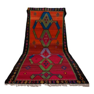 Vintage Turkish Kilim Area Rug - 6′5″ × 13′9″
