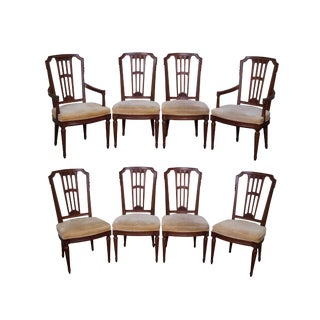 Henredon Vintage French Louis XVI Style Walnut Dining Chairs - Set of 8