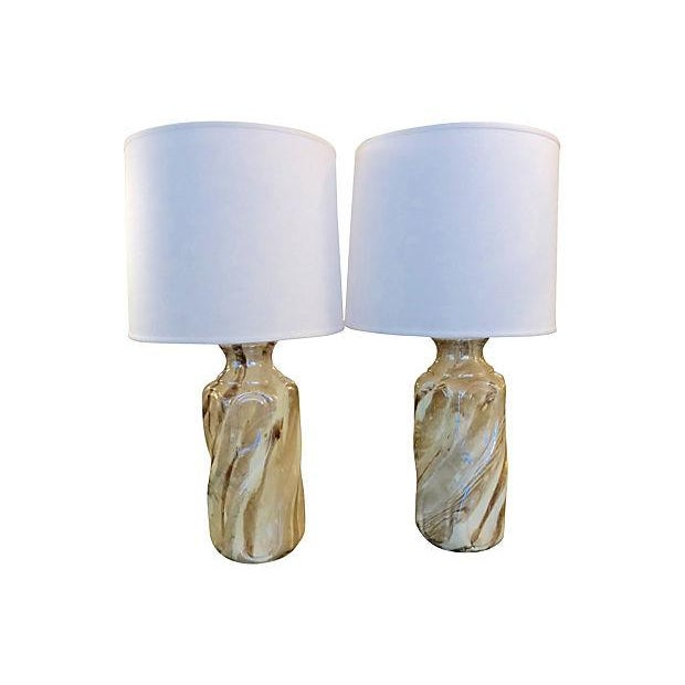 Image of Ceramic Faux Marble Table Lamps - A Pair