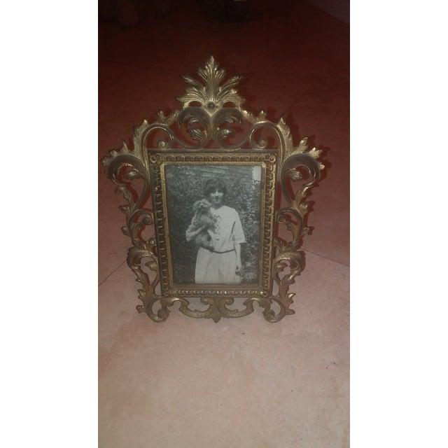 Image of Antique Ornate Brass Frame