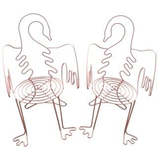 Vintage Pink Swan Chairs - A Pair