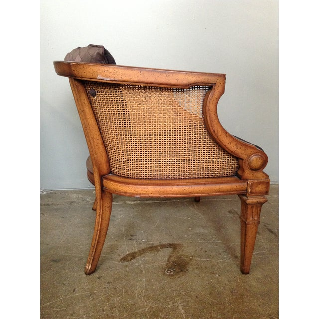 Caned and Upholstered Barrel Back Lounge Chair - Image 7 of 10