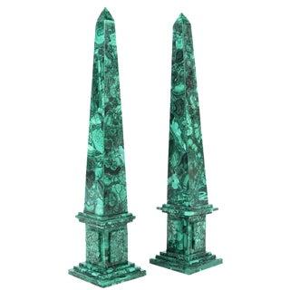 Russian Malachite Obelisks - A Pair
