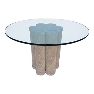 Vintage Pencil Reed Rattan And Round Glass Top Dining Table .