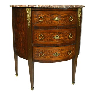 Louis XVI Style Marble Top Demilune Commode