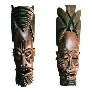 Vintage Hand-Carved Tribal Warrior Masks - A Pair