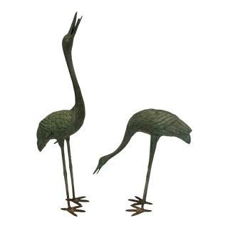 Bronze Garden Cranes - A Pair