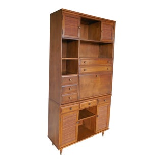 """Baumritter CRP Roomates Mid Century 2 Pc Wall Cabinet Desk 78""""H x 40""""W"""