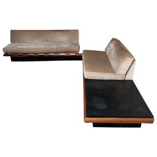 Adrian Pearsall Wool Mohair Platform Sofas - A Pair