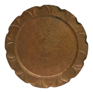1940's Vintage Smith Craft Co Vermont Hand Hammered Round Copper Tray