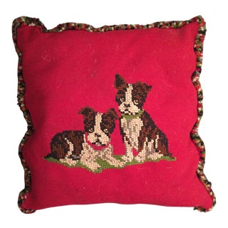 Boxer Puppy Red Throw Pillow