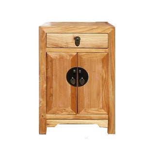 Natural Wood Oriental End Table Nightstand