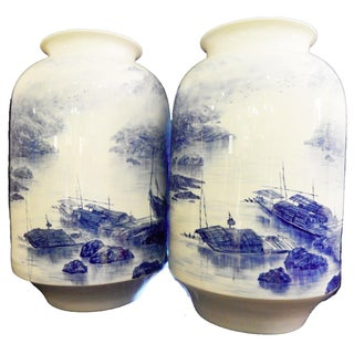 Hand Painted Blue & White Porcelain Vases - a Pair