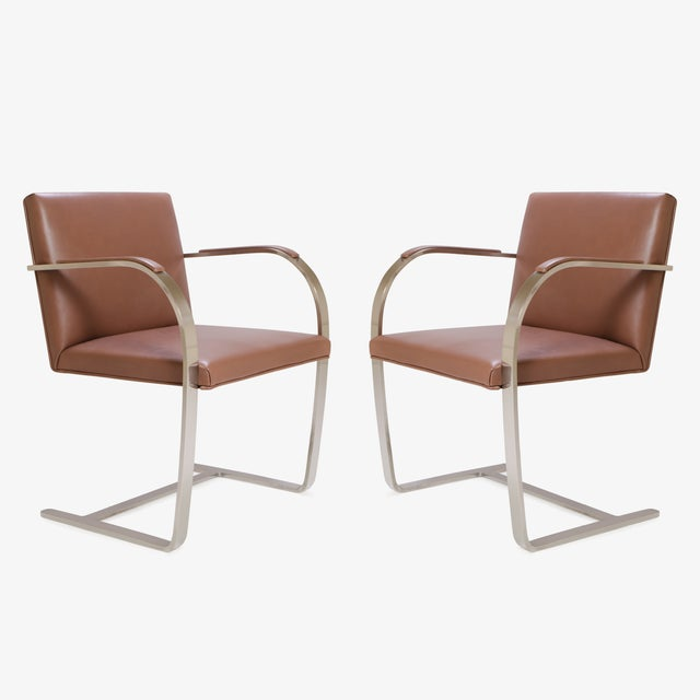 Mies Van Der Rohe for Knoll Cognac Leather Brno Flat-Bar Chairs, Pair - Image 2 of 9