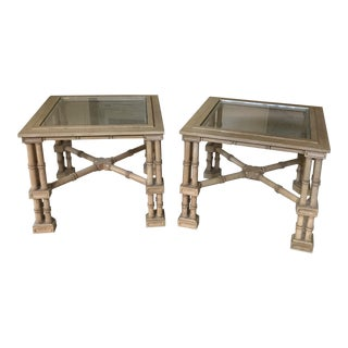 Faux Bamboo Wood End Tables - A Pair