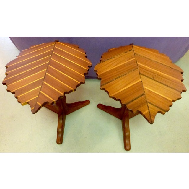 Handmade Wooden Leaf Shaped Side Tables - A Pair - Image 6 of 8