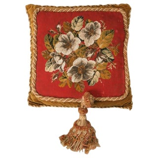 Circa 1900 Victorian English Beaded and Needlepoint Pillow