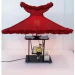 Image of Moss Lucite Chinoiserie Planter Lamp