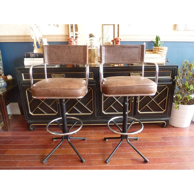 Mid Century Brown Leather Bar Stools A Pair Chairish