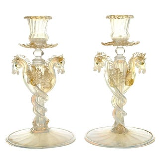 Opalescent Seahorses Candlesticks - A Pair