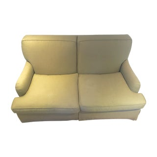Custom Linen Khaki Love Seat With Down Cushions