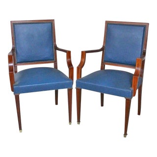 Pair of French, 1940s Mahogany and Leather Armchairs