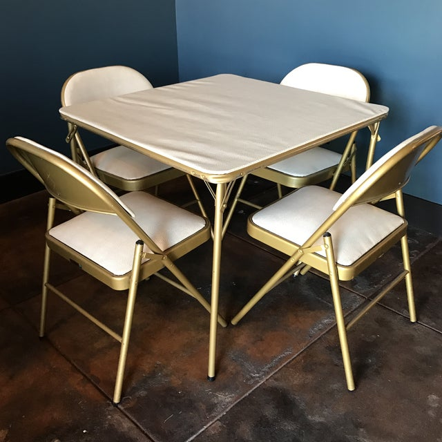 Midcentury modern game table chair set chairish for Contemporary game table and chairs