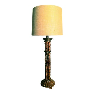 Vintage Burlap Shaded Bamboo Table Lamp
