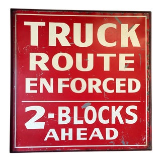 Vintage Original Truck Route Sign