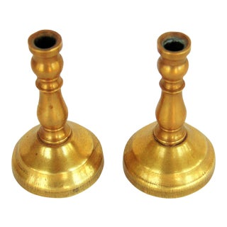 Miniature Brass Candle Holders- A Pair