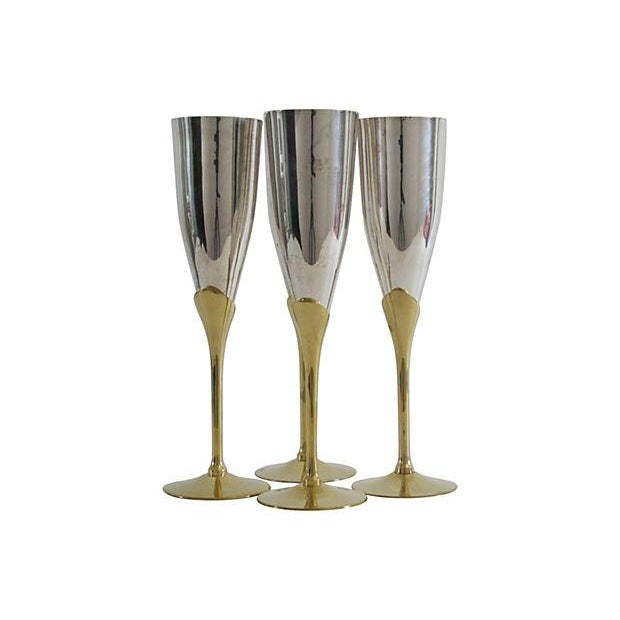 Silver & Brass Champagne Flutes - Set of 4 - Image 1 of 4