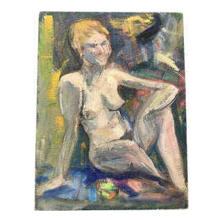 Vintage Female Nude Oil on Board Painting